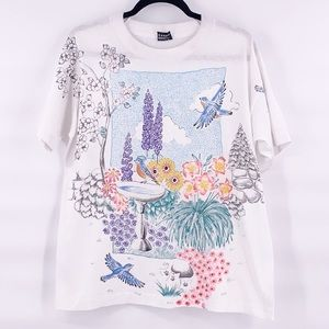 Vintage best fruit of the loom floral bird t shirt